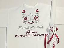 Detské oblečenie - Košieľka na krst k14 bordovo-šedá s krížikom + Sviečka na krst biela čipka a srdiečko s bordovou mašličkou - 9152768_