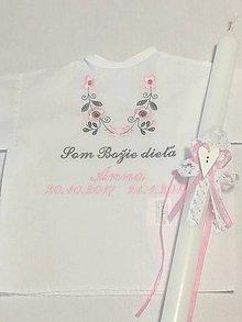 Detské oblečenie - Košieľka na krst k14 ružovo-šedá + Sviečka na krst biela čipka a srdiečko s ružovou mašličkou - 9152673_