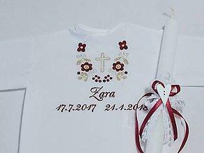 Detské oblečenie - Košieľka na krst k14 bordovo-zlatá s krížikom + Sviečka na krst biela čipka a srdiečko s bordovou mašličkou - 9152794_