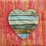 - S1161 - Servítky - srdce, drevo, láska, love, wood, vintage, retro - 9153832_