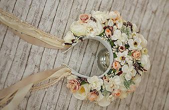 Ozdoby do vlasov - XXL kvetinová bohato zdobená folk parta - 9153598_