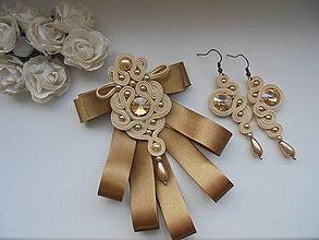 Sady šperkov - Soutache set Darina - zlatobéžový - 9155011_
