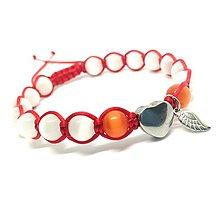 Náramky - Mačacie oko s nerezovým srdcom a krídlom (Červená) - 9155560_