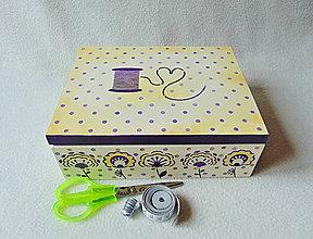 Krabičky - Krabička- organizér Pre šikovnú žienku (Fialová) - 9154786_