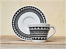 Nádoby - Porcelánová šálka s podšálkou - Etno - 9155238_