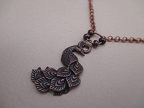 Náhrdelníky - Vintage náhrdelník - páv - 9156761_