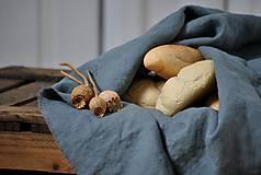 Úžitkový textil - ľanové plátno na chlieb (platinovo sivé) - 9154933_