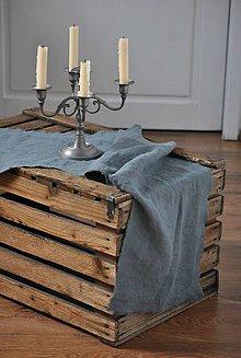 Úžitkový textil - ľanová štóla (platinová sivá) - 9154738_