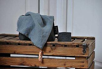Úžitkový textil - ľanový uterák s odnímateľným koženým pútkom (platinovo sivý) - 9154875_