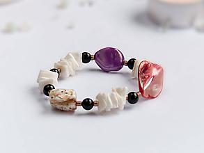 Náramky - Náramok: Karneol a perleť - 9156166_