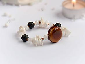 Náramky - Náramok: Lávový kameň, mušle, jadeit - 9156239_
