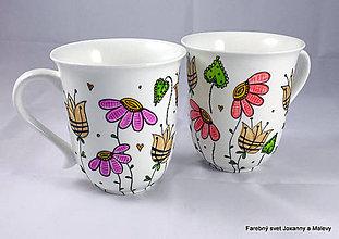 Nádoby - porcelánový hrnček Rozkvitnutý 3 (Fialová) - 9153704_