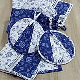 Úžitkový textil - Modro biela tradícia - chňapky ø 18 - 9158090_