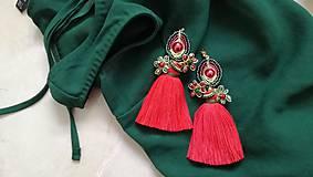 Náušnice - Cerveno zelene kvietkove nausnicky - 9154874_