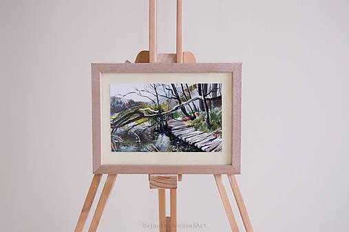 Akvarel Plitvické jazerá-originál