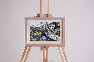 Obrazy - Akvarel Plitvické jazerá-originál - 9153929_