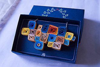 Náhrdelníky - Quilling náhrdelník Farebný - 9154407_