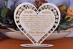 Darčeky pre svadobčanov - Poďakovanie Rodičom srdce vyrezávané 7 - 9153752_