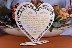 Darčeky pre svadobčanov - Poďakovanie Rodičom srdce vyrezávané 8 - 9153759_