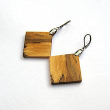 Náušnice - Špaltované brezové štvoruholníky - 9154216_