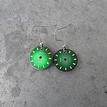 Náušnice - Zelené ciferníky, náušnice z hodinek, nerez - 9159801_
