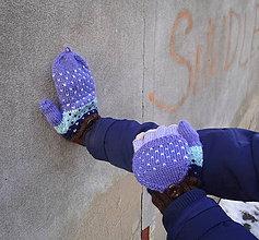 Rukavice - Otváracie rukavice fialovo-modro-hnedé - 9161849_