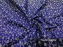 Textil - Bavlnená látka - kvietočky na modrom - cena za 10 cm - 9158834_