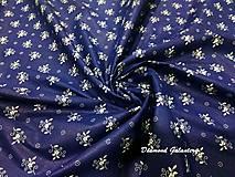 Textil - Bavlnená látka - kvietočky na modrom III - cena za 10 cm - 9160635_