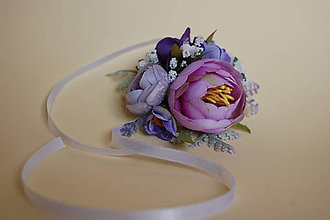 Pierka - svadobný náramok pre družičky fialovo-biely - 9158544_