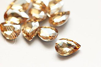Komponenty - kabošon sklenený fazetovaný drop 10x14/ 1ks (Zlatá) - 9162102_