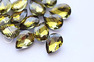 Komponenty - kabošon sklenený fazetovaný drop 10x14/ 1ks (Zelená) - 9162106_