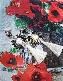 Náušnice - nádherné bielo čierne náušnice - 9162290_