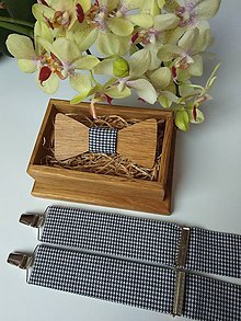 Doplnky - Pánsky set - drevený motýlik a traky - 9158487_