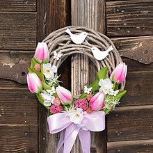Dekorácie - Jarný venček na dvere - 9161020_