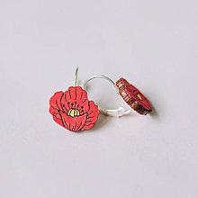 Náušnice - červený vlčí mak - visiačky s francúzskym zapínaním - 9161525_