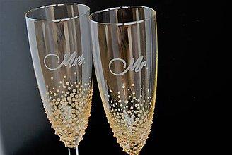Nádoby - Svadobné poháre Mr & Mrs - 9162994_