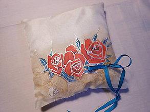 Prstene - Svadobný vankúšik na obrúčky – Ruže - 9162828_