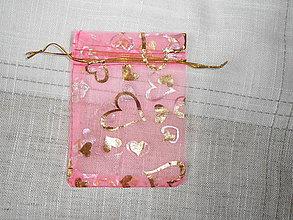 Obalový materiál - Organzové vrecúška-ružové - 9159246_