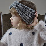 Detské čiapky - čelenka...šedá - 9162824_