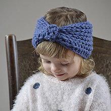 Detské čiapky - čelenka...modrá - 9162812_