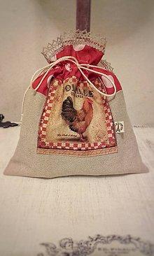 Úžitkový textil - Bavlněno-lněný sáček Le Coq červený - 9162321_