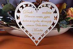 Darčeky pre svadobčanov - Poďakovanie Rodičom srdce vyrezávané 9 - 9159308_