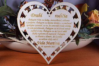 Darčeky pre svadobčanov - Poďakovanie Rodičom srdce vyrezávané 10 - 9159304_