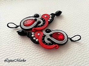 Náušnice - Žaneta (Červená-šedá-čierna) - 9160164_