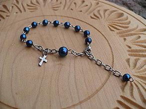 Náramky - ruženec na ruku z modrého Hematitu-chirurgická oceľ - 9160207_