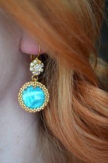 Náušnice - Tyrkysovo - zlaté  perleťové náušnice - 9166998_