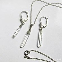 Sady šperkov - Křišťálová stříbrná souprava z krystalů křišťálu s řetízkem - 9165019_