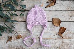 Detské čiapky - Zimná ušianka RUŽOVÝ PASTEL - pixie - 9167740_