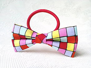 Ozdoby do vlasov - Neon cubes hair bow - 9166374_