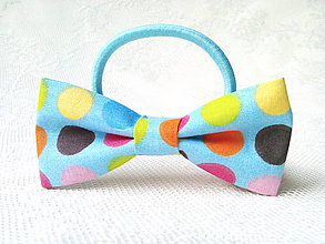 Ozdoby do vlasov - Baby blue hair bow with cute dots - 9166500_
